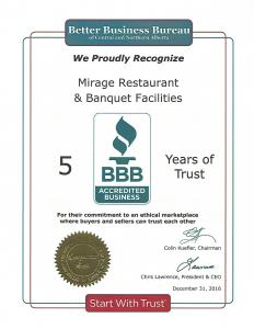 Better Business Bureau (BBB)- Mirage Banquet Edmonton